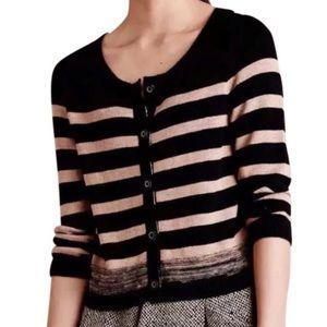 Moth Anthropologie Black & Tan Striped Cardigan